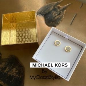 Michael Kors PAVE CRYSTALS Gold Studs Earrings NEW